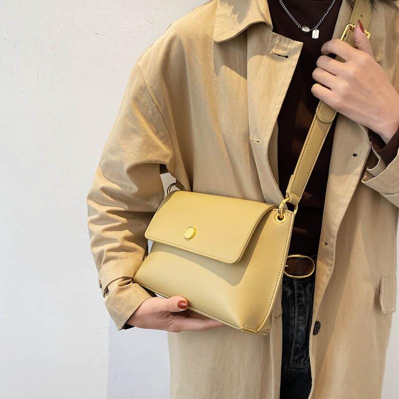Женская сумка через плечо новая модная сумка через плечо однотонная женская молодежная сумка из искусственной кожи маленький простой стиль для встречи