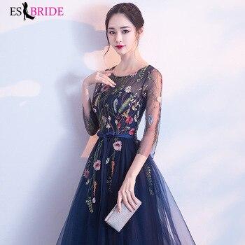 2019 Formal New Fashion Evening Dress Women Vintage Elegant Evening Dresses Sexy 3/4 Sleeve Pleated Velvet Long Dress ES1215 5
