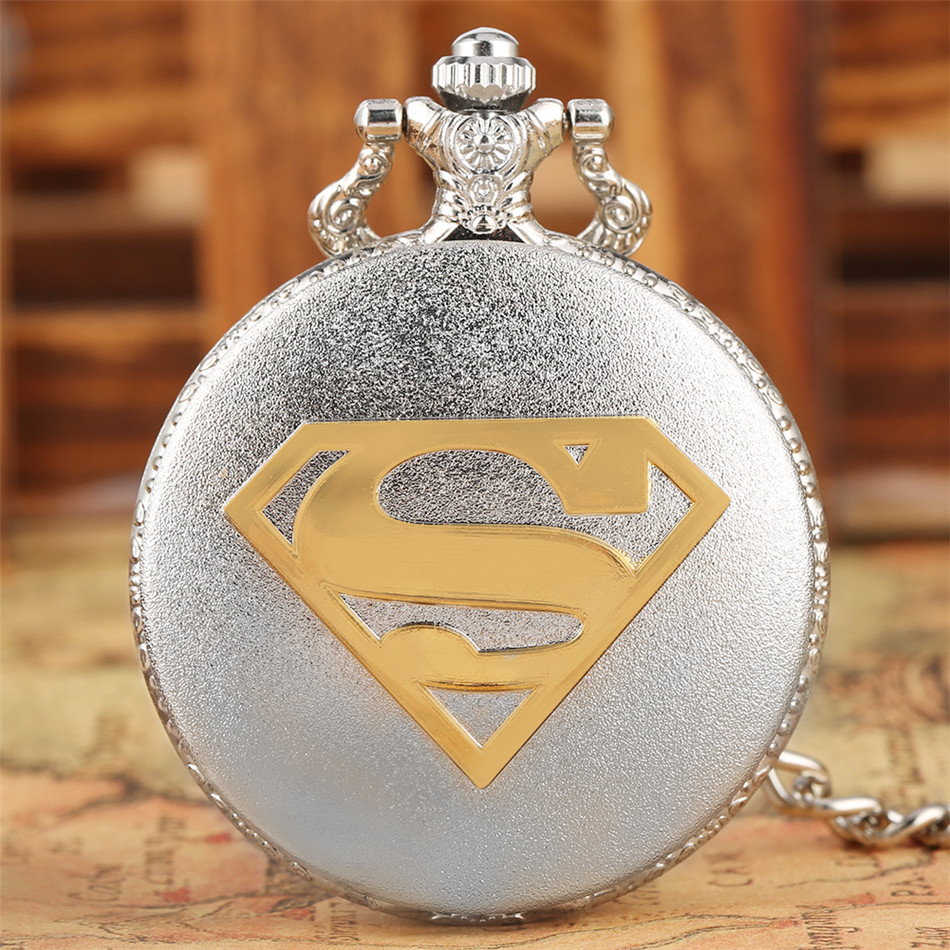 Hot Fashion Silver/Bronze Super Man Theme Quartz Pocket Watch With 30 Cm Punk Pocket Chain Xmas New Year Gifts
