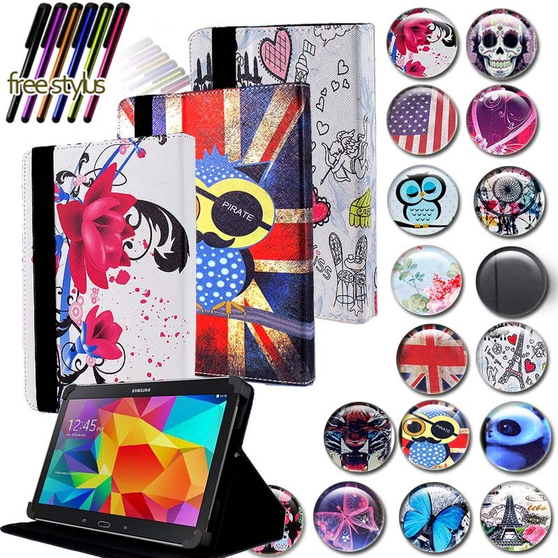 KK&LL For Samsung Galaxy Tab 4 10.1 SM-T535 SM-T533 SM-T536 - Leather Tablet Stand Folio Cover Case + Free Stylus
