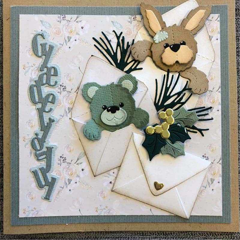 Happy Bear Cutting Dies Metal Stencil DIY Scrapbook Album Paper Card Gift Art