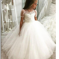 Princess Backless Lace Ball Gown Short Sleeve Flower Girl Dress For Wedding First Communion 2020 Dot Tulle Short Sleeve Pageant