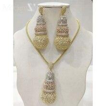 ModemAngel Gourd Luxury Design Full Micro Cubic Zirconia African  Copper Women Wedding Engagement Earring Necklace Jewelry Set