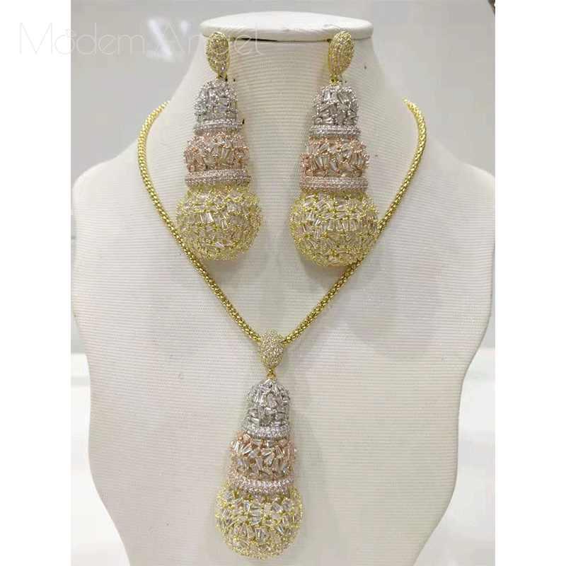 ModemAngel gourde Design de luxe complet Micro cubique zircone africaine cuivre femmes de mariage Engagement boucle d'oreille collier ensemble de bijoux