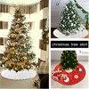 90cm Snow Plush Christmas Tree Skirt Base Floor Mat Cover Merry Christmas Tree Ornament New Year Xmas Home Deco Round Fur Carpet
