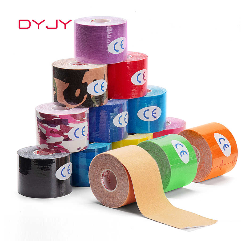 DYJY Kinesiologie Tape Athletisch Recovery Medizinische Rolle Selbst Haftende Wrap Taping Muscle Pain Relief Knie Pad Volleryball Protector