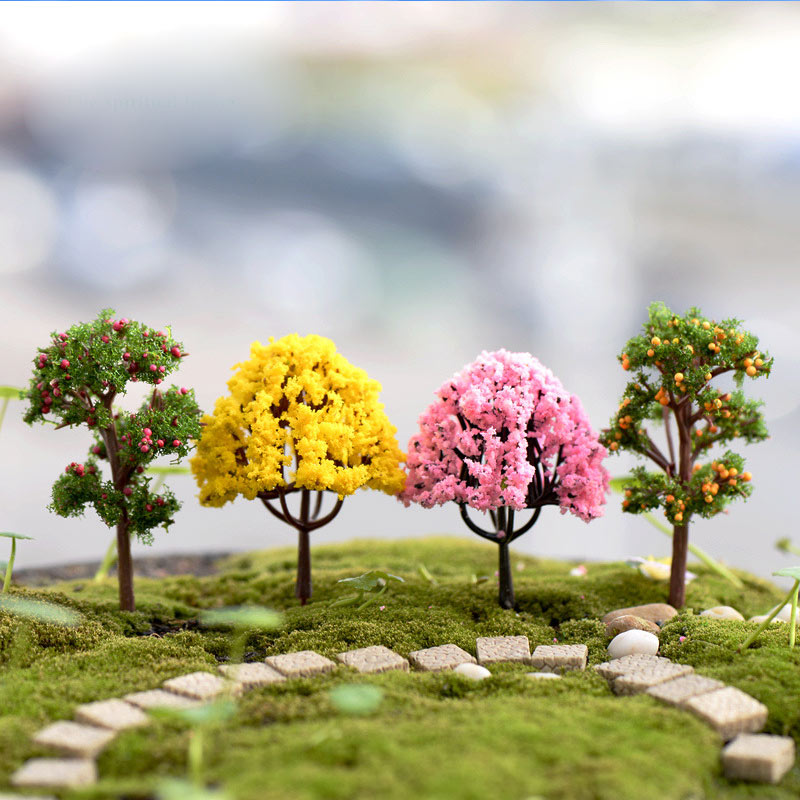Plastic Miniatures Garden Microlandscape Figurines 1PC Popular Mini Home Decoration Sakura Simulation Trees High Quality