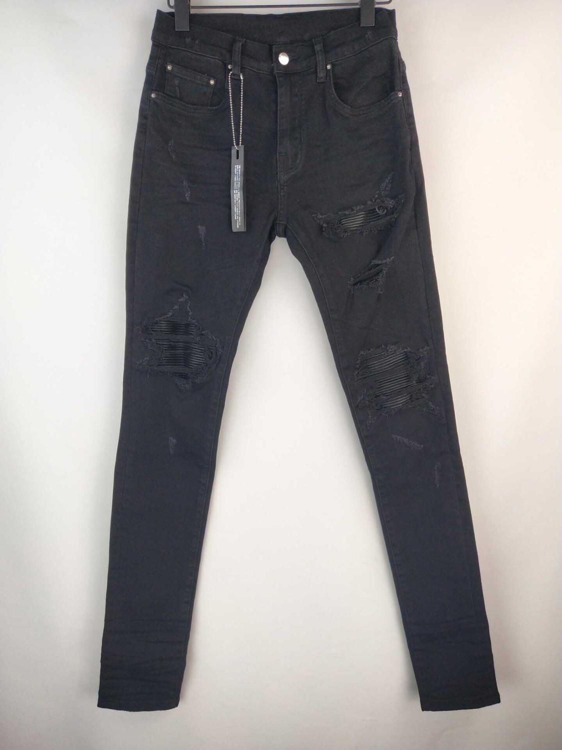 New Men MX1 Stretchy Skinny Ribbed Leather Patch Distressed Black Jeans