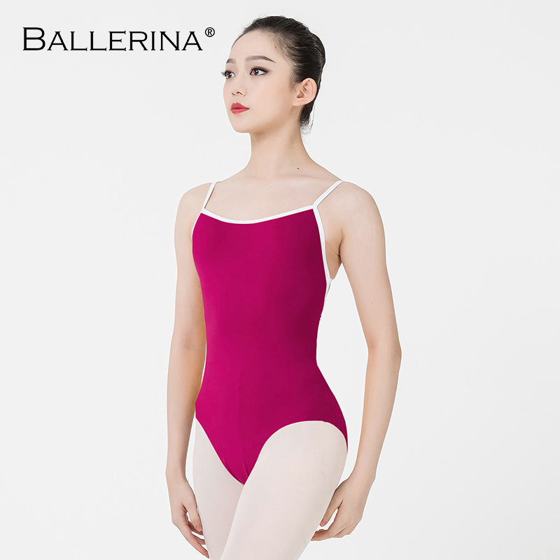 Ballerina Ballet Leotard Women Aerialist Practice Dance Costume White Edge Sling Gymnastics Leotard Adulto 5102