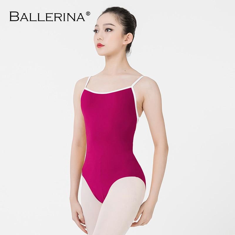 Ballerina Ballet Leotard Women Aerialist Practice Dance Costume White Edge Sling Gymnastics Leotard Adulto 5102