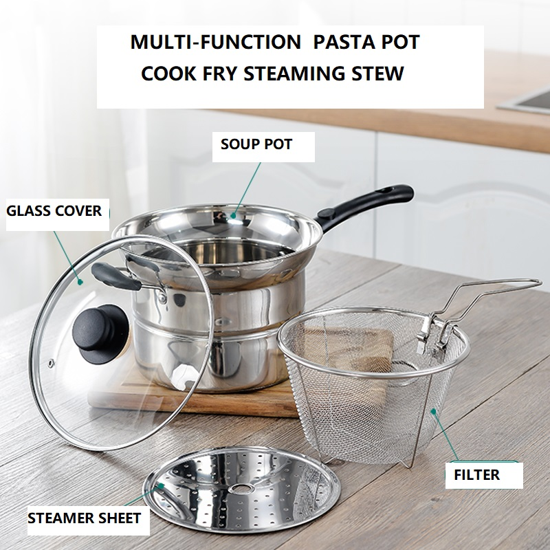 Pasta Noodle Cooking Stainless Steel Pot 3500ML 4
