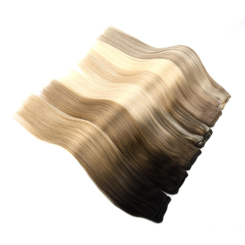 Vlasy 20'' 100g Newest Balayage Color Double Drawn Human Hair Weft Remy Hair Bundles Weave Salon Style
