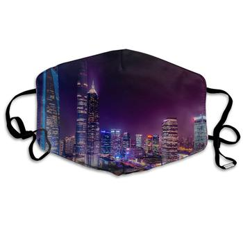 Unisex Print Mouth Mask - New York City Art Polyester Anti-dust Mouth-Muffle Fashion Washed Reusable Face Masks for Outdoor