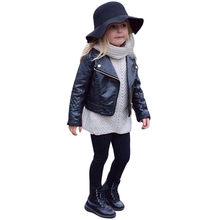 Jackets For Girls Coat Hot Cute Baby Long Sleeve Autumn Winter Boy Kids Outwear Leather Coat Short Jacket Clothes manteau fille(China)