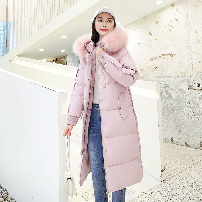 Chic Long Fur Coat Hooded Bakery Winter Down Coat Women Oversize Jacket Thick Warm Cotton Padded Wadded Parkas Big Pocket