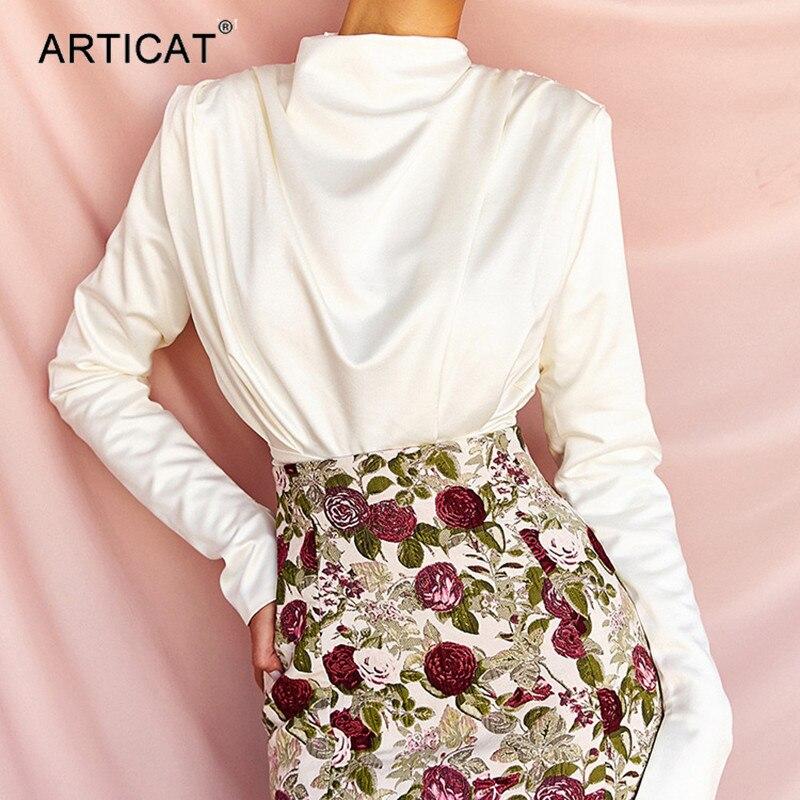 Articat Elegant Turtleneck Satin Bodysuit Women Long Sleeve Sexy Backless White Jumpsuit Ladies 2020 Fashion Streetwear Clothes