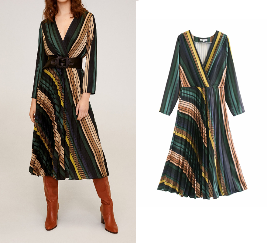 Za fashion dress women 2020 geometric elements print sashes silk dress long sleeve V-neck mid calf dress female vintage vestido image
