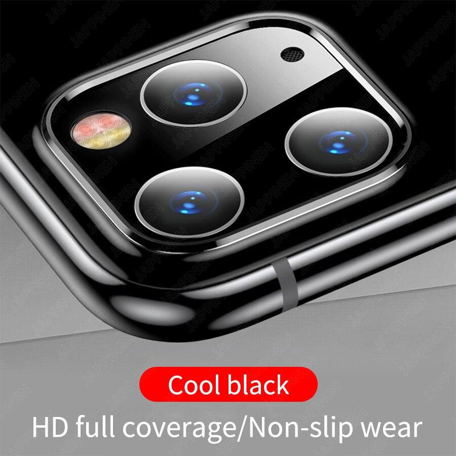 Объектив камеры полное покрытие защитное металлическое кольцо+ закаленное стекло для iPhone 11 Pro XS Max XR X задняя камера объектив защитный чехол - Цвет: Black