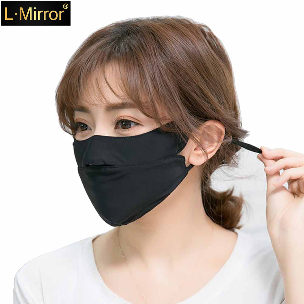 L.Mirror 1Pcs Ice Silk Face Mouth Mask For Sun UV Protection Breathable Mouth Mask Washable Anti Dust Mouth Mask Summer Cycling
