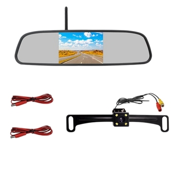 4.3inch HD 800X480 Car Wireless Wifi Video Player Rear View Mirror with License Plate Night Vision Reverse Backup Camera