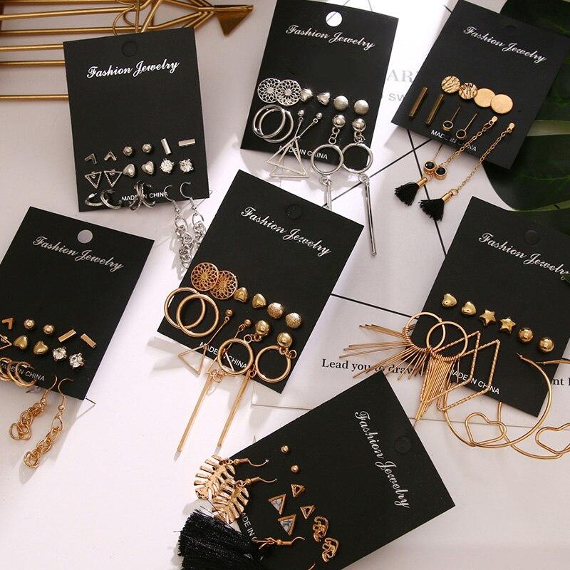 FNIO Trendy Metal Geometric Gold Drop Earring for Women Irregular Round Crystal Earring Set 2020 Tassel Earrings Fashion Jewelry