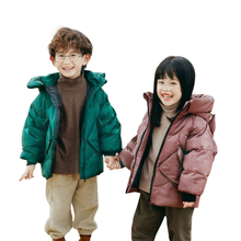 New Winter Kids Jackets Unisex Fox Flocking Girls Boys Coat Fashion Children White Duck Down Jacket 3-7 Years Hooded Coats