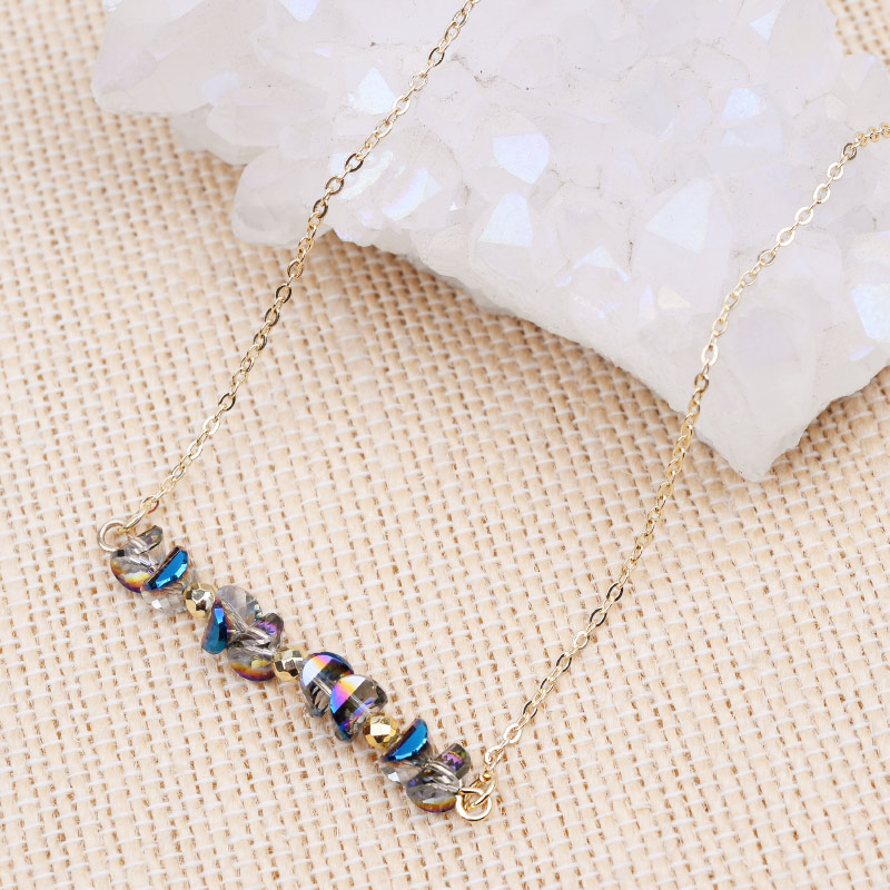 6 Colors Adjustable Handmade Crystal Pendant Necklaces For Women Gold Brass Link Chain Custom Necklace Wholesale Dropship NKS251 in Chain Necklaces from Jewelry Accessories