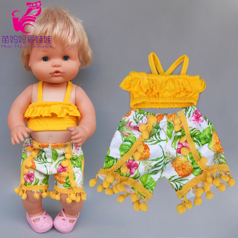 40cm Nenuco Doll Summer Strap Shirt Pants Ropa Y Su Hermanita 16 Inch Baby Doll Clothes Accessories