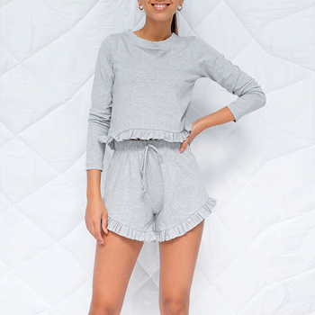 stripe shorts sets women s suit long sleeve single breasted shirts and elastic waist shorts 2021 summer thin two piece set women women spring tracksuits two peices set summer casual outfits long sleeve t-shirts shorts sets ruffles homewear 2 piece suits