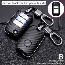 3 button Carbon fiber Remote Car Fold Key Case Cover For Roewe RX5 2017 year for MG ZS Auto Key Shell Accessories Keychain