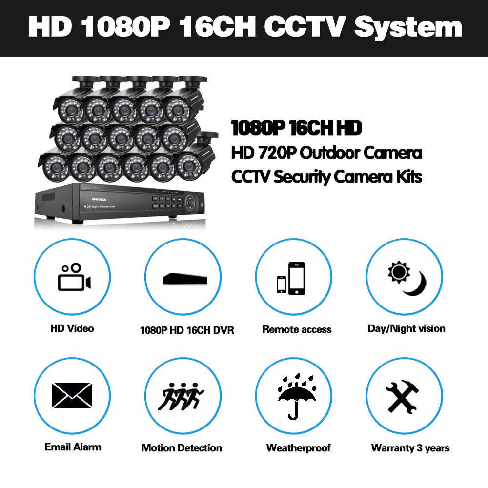 NINIVISION HD vidéosurveillance 16CH système de vidéosurveillance AHD-H 1080P DVR 16 pièces AHD 720P caméra CCTV Kit de sécurité HDMI 1080P Kit