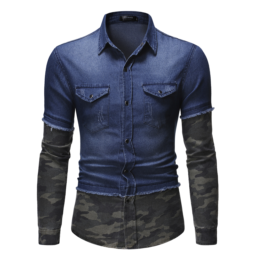 Men's Shirt Casual Camouflage Two Tone Patchwork Male Long Sleeve Shirt 2019 Single Breasted Panel Button Down Denim Shirt