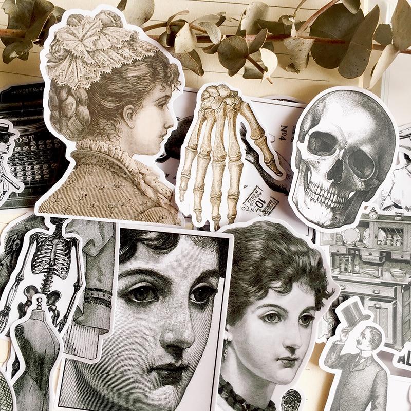 27Pcs/Set Vintage Black White Girl Skull Sticker DIY Craft Scrapbooking Album Junk Journal Happy Planner Decorative Stickers