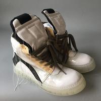 Factory sale real picture 19ss new rock street designer 3D print Transparent rubber tassel line men leather geo basket Boots