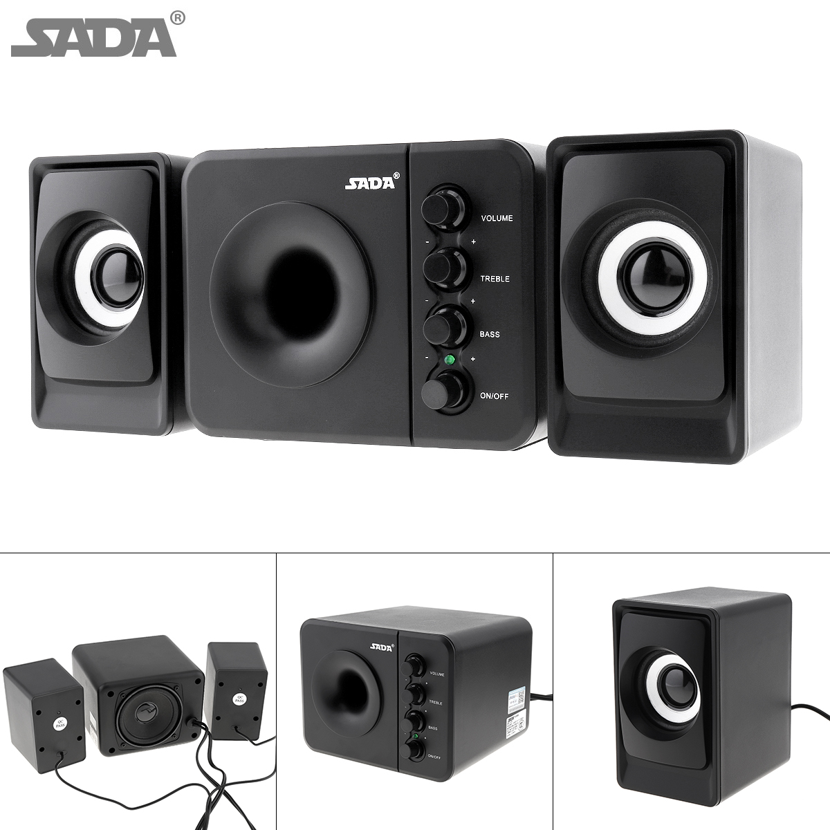 SADA D-205 Newest Full Range 3D Stereo Subwoofer 100% Bass PC Speaker Portable Music DJ USB Computer Speakers for Laptop TV 1
