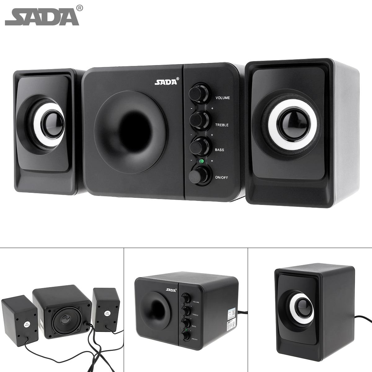 SADA D-205 Newest Full Range 3D Stereo Subwoofer 100% Bass PC Speaker Portable Music DJ USB Computer Speakers for Laptop TV