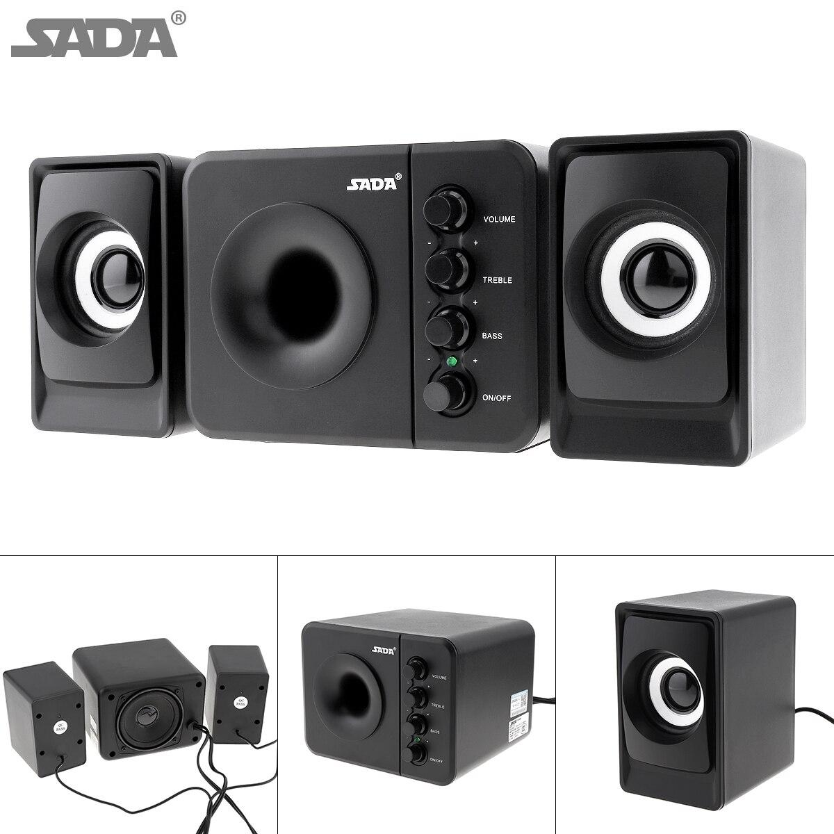 SADA D-205 yeni tam aralıklı 3D Stereo Subwoofer 100% bas PC hoparlör taşınabilir müzik DJ USB bilgisayar hoparlörleri dizüstü bilgisayar için TV