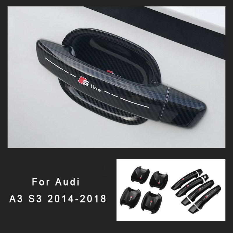 ABS Car Exterior Door Handle Bowl Sticker Cover For Audi A3 S3 2018 2017 2016 2015 2014 Protector Car Styling Decoration image