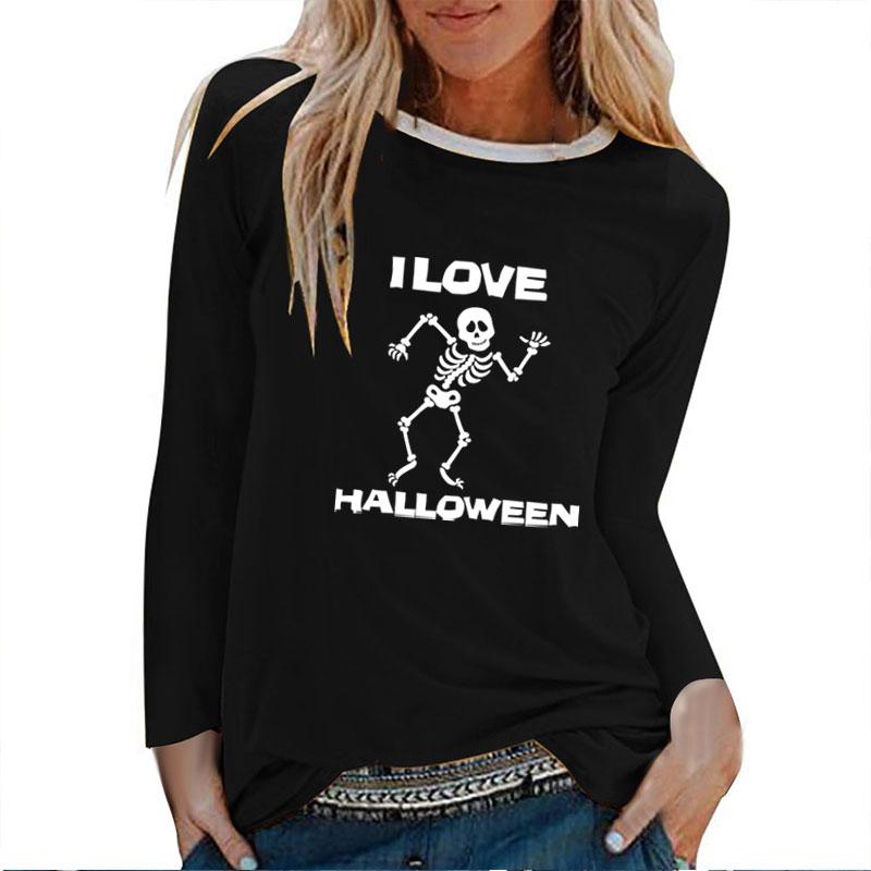 I Love Halloween Human Skeleton Printed Long Sleeve T-shirts Women Autumn Winter Graphic Tees Women Fashion Goth Tops Female(China)