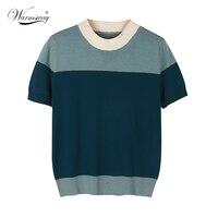 2021 sommer Damen 100% baumwolle Casual Mode Gespleißt Kontrast Farbe Strickwaren Kurzarm Oansatz T-Shirt Tops B-145