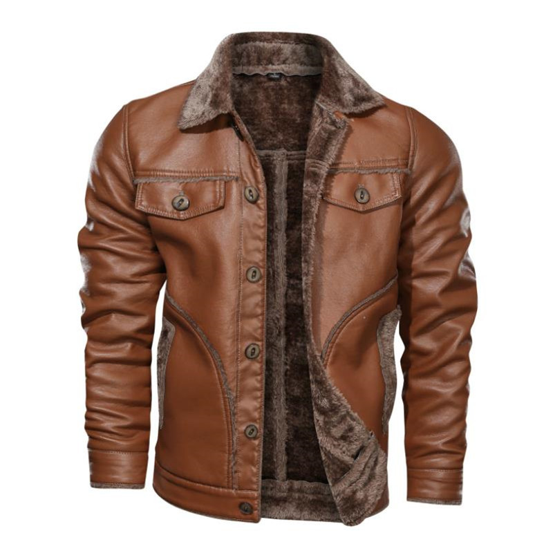 Winter New Men's Leather Jacket Casual Plus Velvet Jacket PU Leather Jacket Large Size Warm Windproof Coat