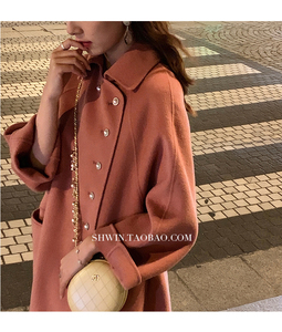 Image 4 - Wysokiej jakości dwustronny wełniany płaszcz w długi płaszcz wełniany kołnierzyk dla lalek moda A Line luźny wełniany płaszcz kobiety Winter Warm