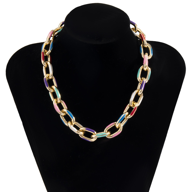IngeSight.Z Punk Chunky Thick Aluminium Curb Chain Choker Necklace Goth Gothic Printed Short Clavicle Necklaces Collar Jewelry 6