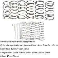 10PCS 0.6*3 4 5 6 7 8 9 10 11 12mm*5-50mm Spring Steel Small Compression Release Mechanical Return Spring Pressure Spring OD 3mm
