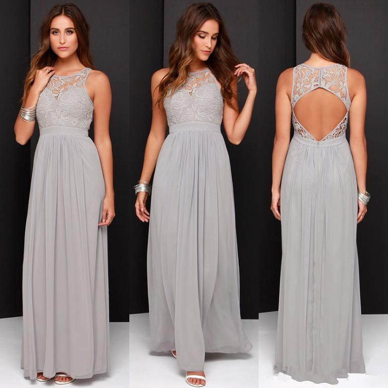 Silver 2019 Cheap   Bridesmaid     Dresses   Under 50 A-line Chiffon Lace Backless Long Wedding Party   Dresses