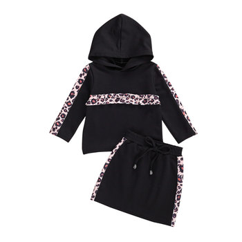 A Girl's Two Piece Suit Fashion Streetwear Leopard Print Long Sleeve Hooded Top and Short Skirt Girls Clothing Set Toddler Suits a girl's two piece suit fashion streetwear leopard print long sleeve hooded top and short skirt girls clothing set toddler suits