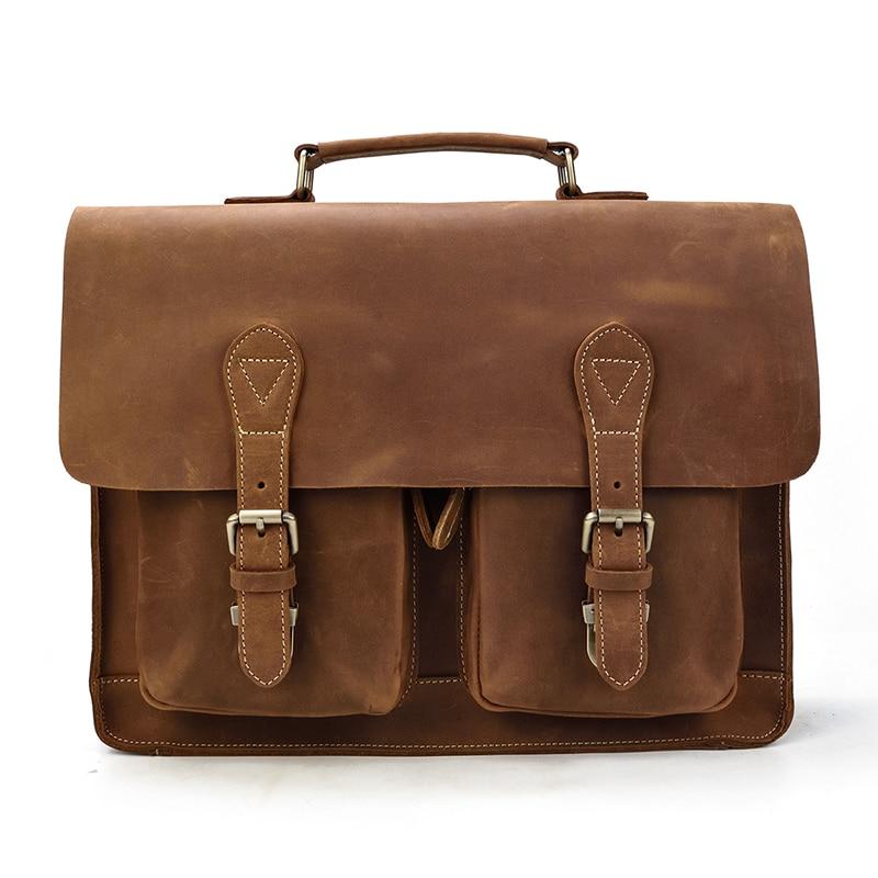 H443d704ea8854b95ab389fb17ff644aeu MAHEU Luxury Fashion 100% Genuine Leather Men Briefcase Cow Leather Laptop Bag Vintage Shoulder Bag Real Cowhide Computer Bag