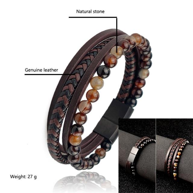 4Pcs// Set Braided Wrap Leather Bracelets for Men VintageTiger eyes stone Charm