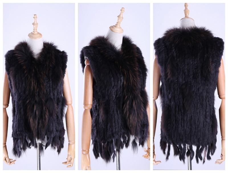 H443d8807db854fcaaeafb007fd159997g Brand New Women's Lady Genuine Real Knitted Rabbit Fur Vests tassels Raccoon Fur Trimming Collar Waistcoat Fur Sleeveless Gilet