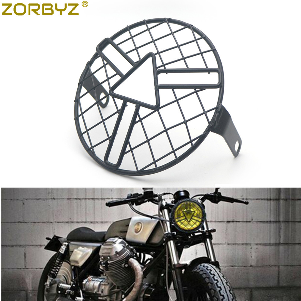 Details about  /16cm Black Old School Grill Motorcycle Side Mount Headlight Cover Chopper Custom